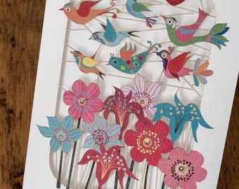 Birds over Flowers greeting card - luxury laser cut-out -made in England