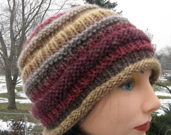 Wool Knit Hat for Men and Women - Slouch Hat - Large Winter Beanie - Cloche