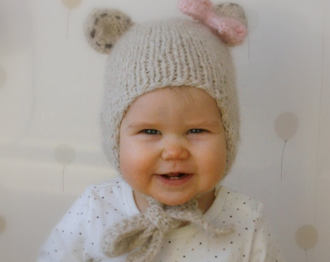 KNITTING PATTERN bear hat with earflaps and a bow Nalle (baby, toddler, child sizes)