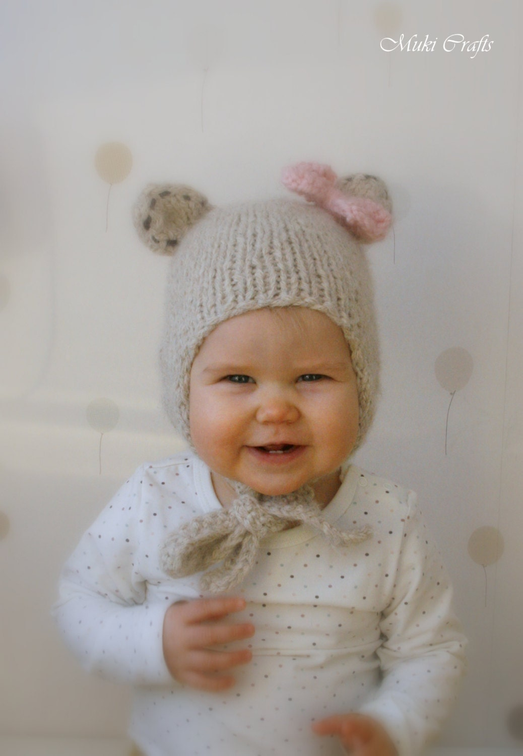 KNITTING PATTERN bear hat with earflaps and a bow Nalle baby
