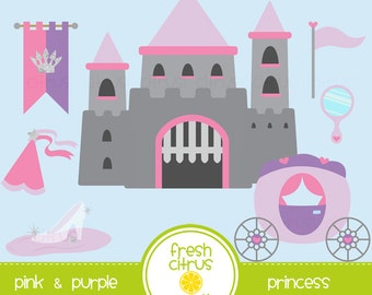 Princess Clip Art castle carriage glass slipper clipart SALE!