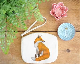Fox Canvas Zip Bag, Makeup Bag, Coin Purse, Small Accessory Pouch, Stocking Filler, Fox Gift