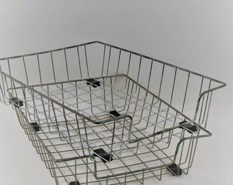 Vintage Silver Wire Paper File Organizer, File Tray, Wire Baskets, Set of 2
