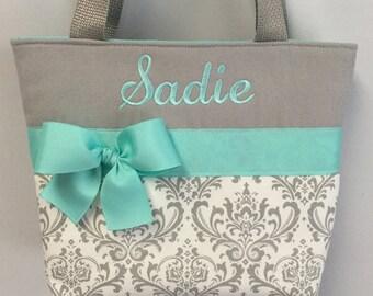DAMASK Gray  Child Size  Bag.. AQUA Accents ... Little GiRL  Bag ...  Flower Girl Monogrammed  FReE