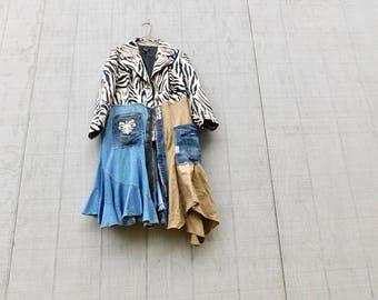 Ladies Jacket, Animal Print, Spring Coat, Up Cycled Jacket, Duster, Upcycled Clothing Women, Sustainable, Wearable Art, CreoleSha