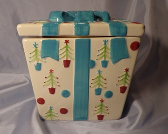 COOKIE JAR ~  Christmas Gift,  Blue and White with Ornaments