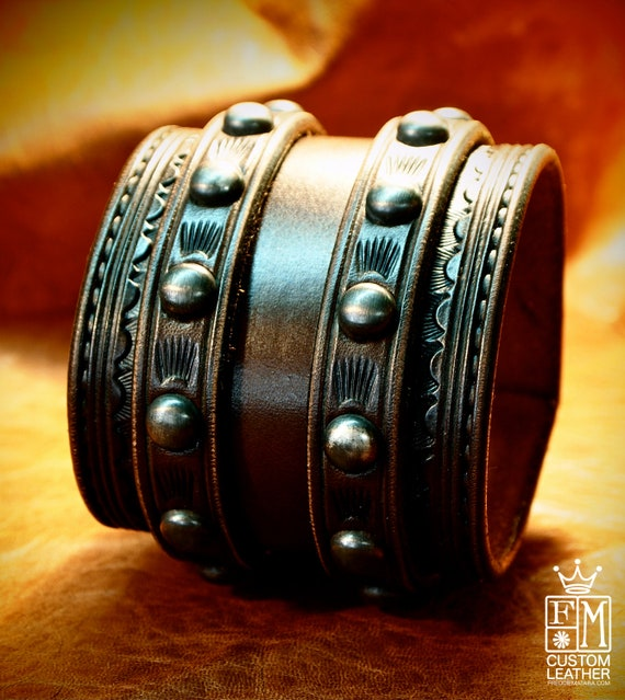 Leather Wrist Cuff Traditional American COWBOY ROCKSTAR Bracelet