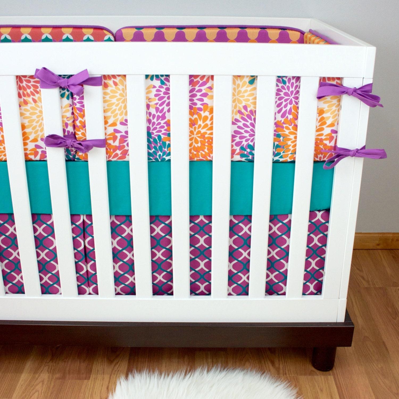 Baby Girl Crib Bedding Coral Crib Bedding Purple and Teal