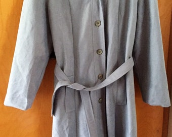 Light blue Vintage Trench Coat Baby Blue C1980's Size 14