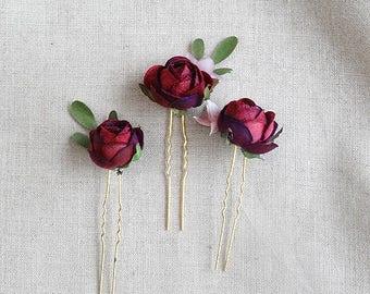 burgundy flower hair pins, burgundy rosebud hair pin, bridesmaid hair accessories, burgundy wedding, floral hair pins, dark red hair piece