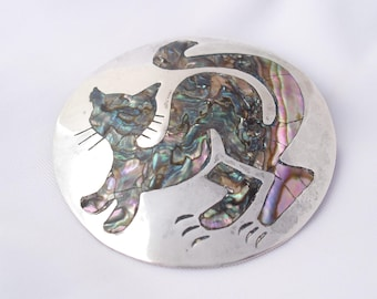 Sterling Silver Cat Brooch, Vintage Mexico Cat Pendant Pin Hallmarked Taxco 925, Artist Signed Jewelry