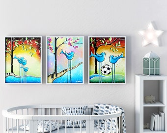 3 Piece Wall Art Bird Prints Nursery Wall Decor, Set of Three Nursery Bird Decor Children's Art Prints