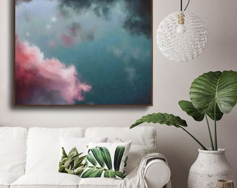 Night Sky Painting, Fine Art Skyscape, Clouds Painting Print, Cloudscape Painting by Corinne Melanie Art - Ready to Hang Canvas Art