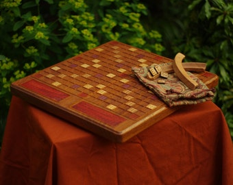 Scrabble Board Game Art (African Sapele W/ Cherry Wood Accents)