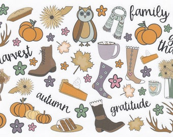 Fall Planner Stickers   Autumn Stickers   Pumpkin   Harvest Stickers   Great For Erin Condren Life Planner   Use In Happy Planner   CA001