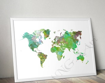 Printable map etsy world map printable map world map wall decor world map poster watecolor gumiabroncs Choice Image