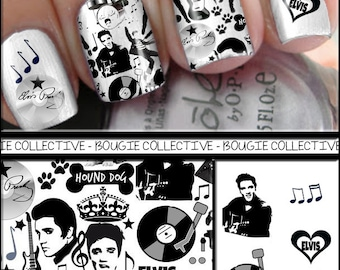Nail Decals - Elvis Deluxe Edition - Peek-A-Boo Nail Wraps - Music//Presley//Hound Dog//Celebrity//Singer - Free Samples w/Every Order!