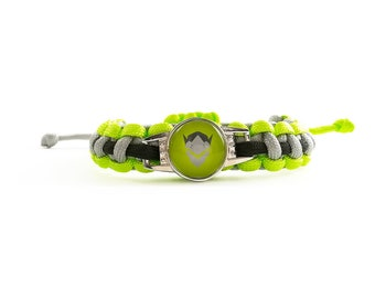 Overwatch - Bracelet - Genji (I need healing) - braided (handmade) - men women Bracelet - gray, yellow neon and black - adjustable size
