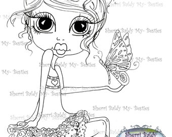 INSTANT DOWNLOAD Digital Digi Stamps Big Eye Big Head Dolls Digi  Fluttering Hearts  By Sherri Baldy