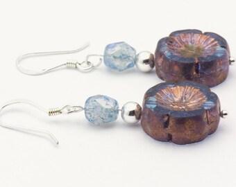 Flower Cute Earrings | Blue Boho Earrings | Czech Glass Earrings | Sterling Silver Earrings | Unique Boho | Earrings Floral - EA00448