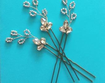 Gold Leaf Hair Pins, Crystal hair Pins, Gold hair Piece, Rhinestone Hair Pins, Wedding hair Pins Gold Bridal hair Pins, Crystal hair Jewelry