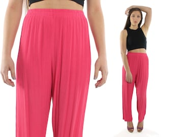 Vintage 80s High Waisted Pants Pink Trousers Broomstick Rayon 1980s Elastic Waist Slacks Medium M