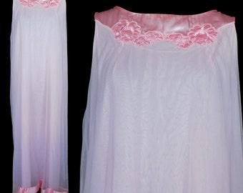 Vintage Nightgown, White Chiffon, Gossard Artemis Vintage Shift 1960s Pink Satin Trim, Size Medium