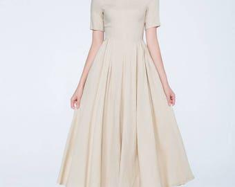 Linen summer dress, cream dress, short sleeves dress, pleated dress, maxi dress, womens dresses, classic dress, elegant dress 1742