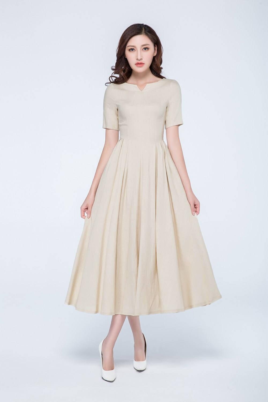 Leinen Sommer Kleid Creme kurze Ärmel Kleid plissierten