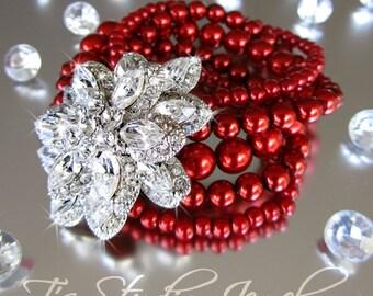 Cinnamon Red Pearl Bridal Wedding Bracelet Multi Strand Cuff Brooch Rhinestone Crystal Focal - CAROLYN