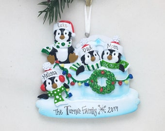 4 Family Penguin Ornament / Personalized Christmas Ornament / Family of Four Ornament / Penguins / Hand Personalized