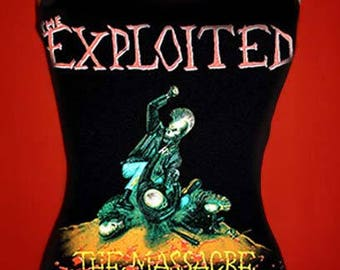 THE EXPLOITED diy halter top  tank top  punk rock  the massacre shirt  xs s m l xl