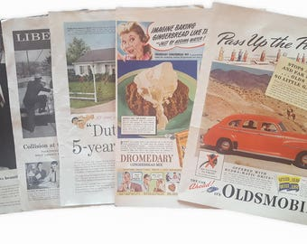 1940s/50s Large Vintage Ad Variety Pack Vintage Epherma Junk Journal Scrapbooking Paper Destash