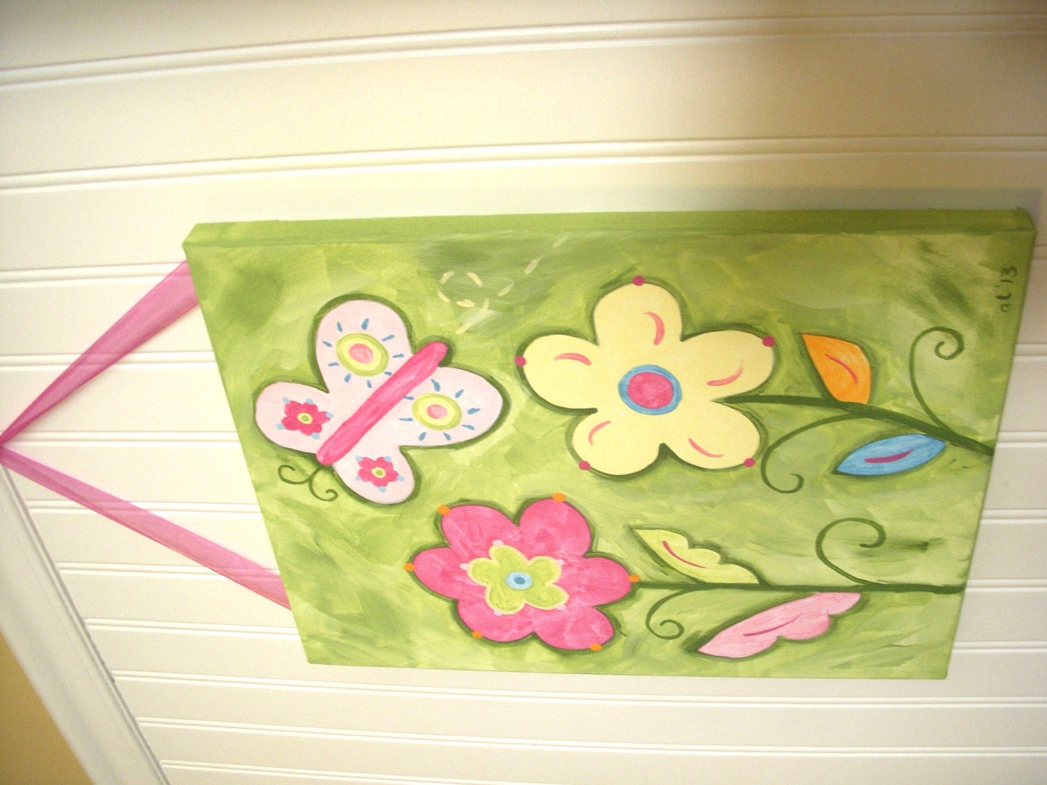 11 x 14 spring butterfly Canvas painting Baby
