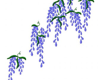 Large Wisteria Embroidery Design - Instant Download