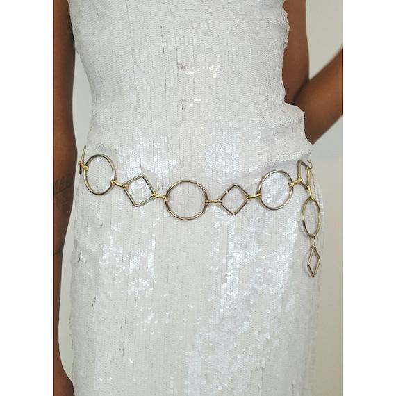 80's Women's Silver Loop Metal Belt - Unique Vintage Circle Diamond Belt - 1980s VTG Glam Adjustable Link Belt - Classic Artsy Women's Belt