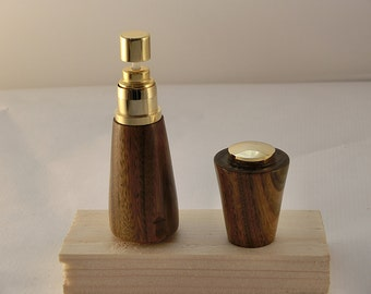 Purse style 24kt gold and lignum vitae wood perfume  atomizer