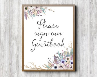 Rustic Wedding / Party Sign - Please Sign Our Guestbook Printable Wedding Sign - Anniversary Party Decor - Watercolor Floral  Wedding