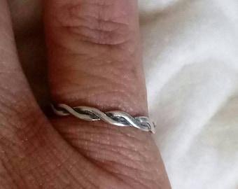 Dakota West 2mm Sterling Silver Twisted Strand Ring Band Size 6 1/2 - Vintage