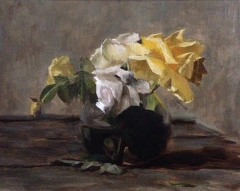 Floral Still life, Master Copy after MK, original oil painting on unstreteched linen, 2016