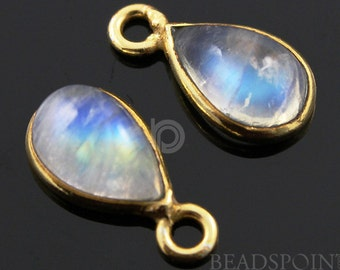 Natural Rainbow Moonstone Faceted Bezel Baby Pear, Gold Vermeil , Incredible Blue Fire,7x14mm,1 Piece, (RNM7x14)