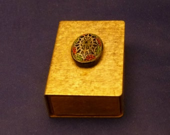 Vintage Match Box Safe with Floral Cabochon on Cover, 1970s