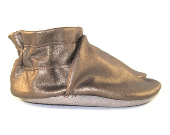 Soft Sole, Gold Metallic, Leather Baby Shoes, Moccs, 0 to 6 Month Eco Friendly