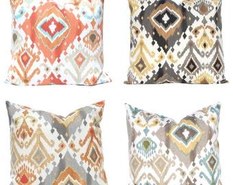 Ikat Pillow Covers - Sofa Pillow Covers - Throw Pillow Covers - Orange Pillow Covers - Decorative Pillows - Black Pillow Covers - Orange