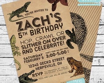 Reptiles & Amphibians Herpetology Birthday Party Invitation + Our 4 Favorite Printables!