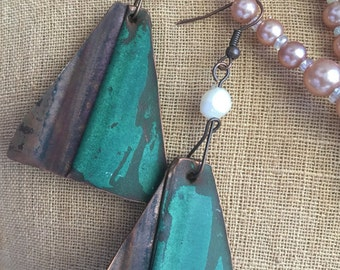 Whales Tail- Salvaged Copper Fresh Water Pearl