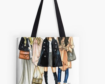 Friend-ly Fashion TOTE (Fashion Illustration art  Home Decor Gift Ideas  Gifts for Her Wedding Gifts Graduation Gifts Birthday Gifts)
