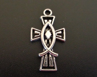 Cross with Icthys - Cross with Jesus Fish - Christian/Inspirational - Low Shipping
