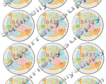 "Safari Babies 2 1/2"" Round Edible Cupcake Toppers. 12 Per sheet"