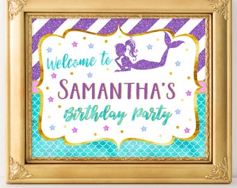 Printable Mermaid Party Sign, Welcome Mermaids, Party Decoration, Baby Shower, Birthday, Under the Sea Party A-072